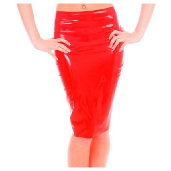 Red Latex Pencil skirt by Taboo