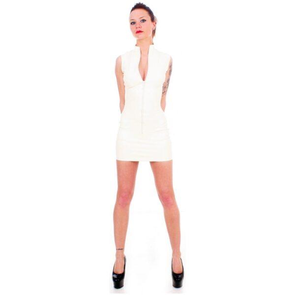 White Latex Polo Dress by Taboo