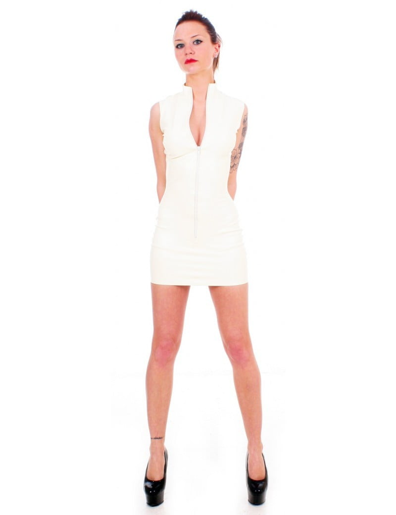 White Latex Polo Dress by Taboo