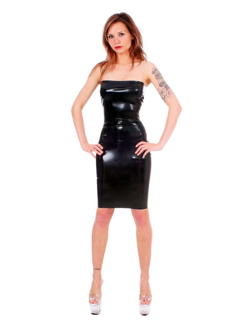 Black Latex Tube Dress by Taboo