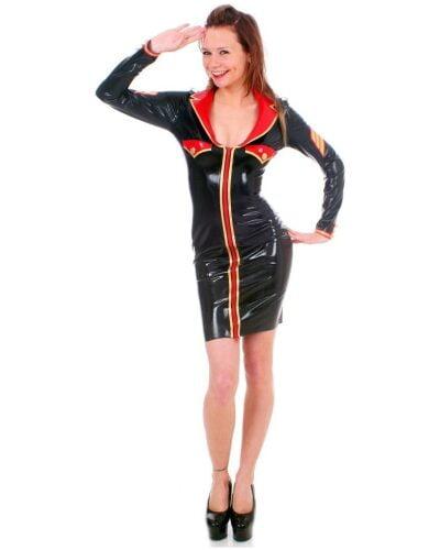 Black Latex Military Dress by Taboo (Long Sleeve)