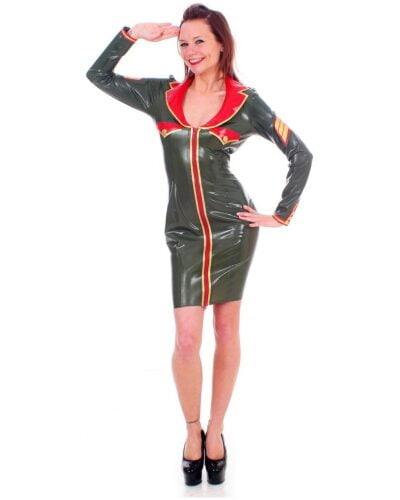Olive Latex Military Dress by Taboo (Long Sleeve)