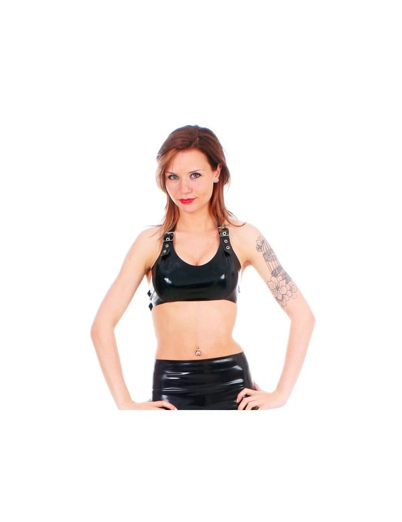 Black Latex Halter Buckle Top