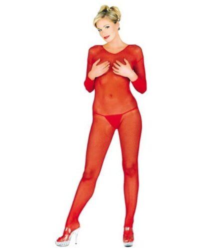 Long Sleeve Fishnet Bodystocking Red