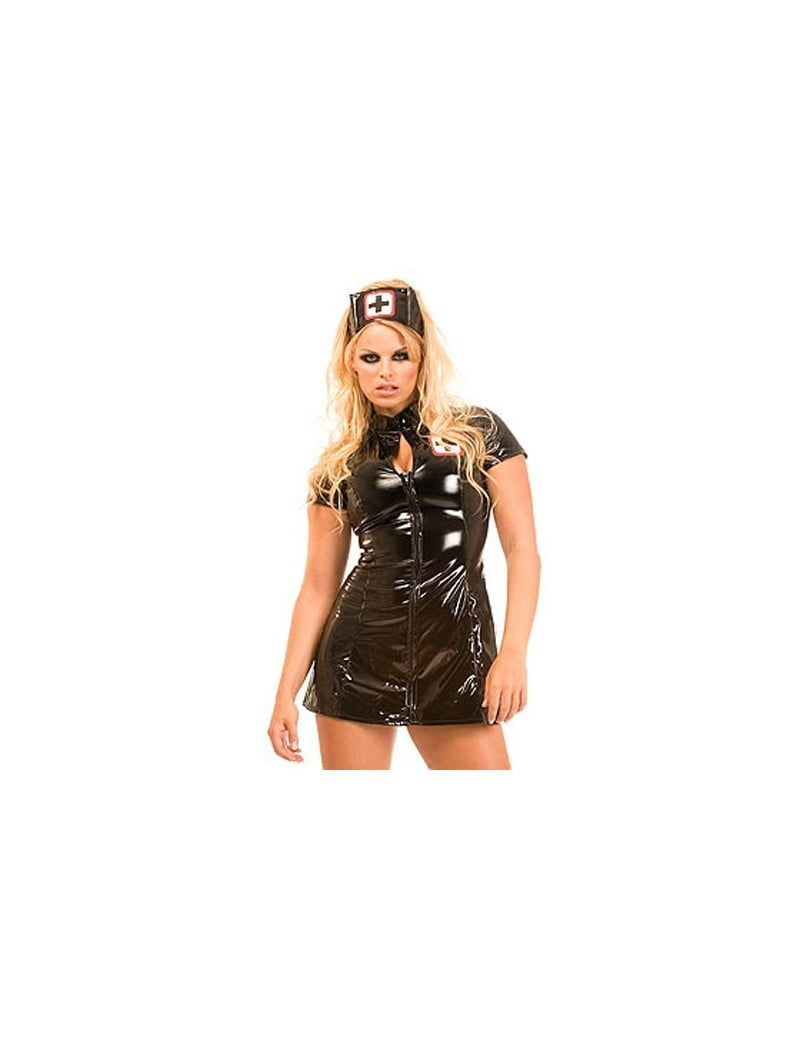 PVC Nurse Dress Black