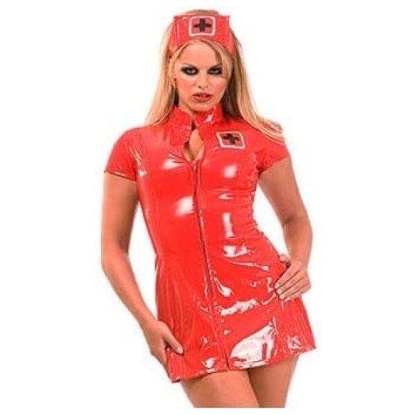 PVC Nurse Dress Red