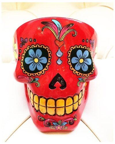 Sugar Skull Ashtray Red-2242