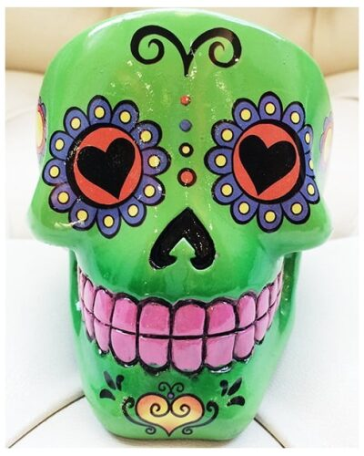 Sugar Skull Ashtray Green-2244