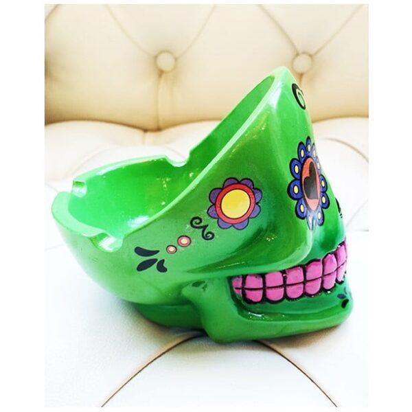 Sugar Skull Ashtray Green-2245